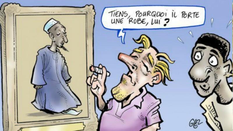 Caricature de  l'hebdomadaire Jeune Afrique, du dessinateur Damien Glez, modifiée après les protestations de la confrérie mouride (Photo:  www.buzz.sn)