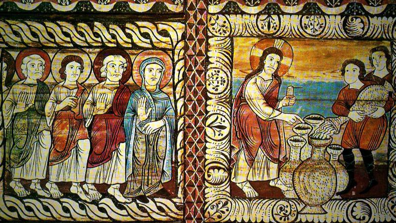 Les noces de Cana, peinture romane vers 1150, canton des Grisons. | DR