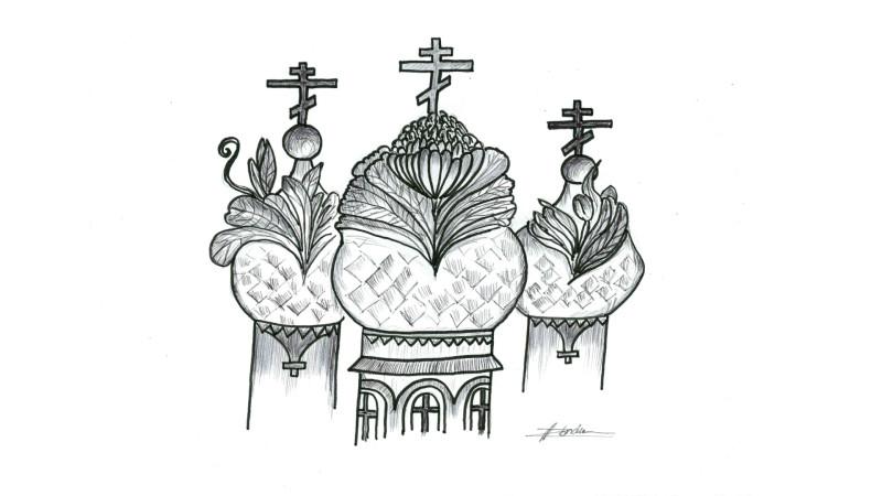 Les bulbes orthodoxes fleurissent en cette saison (dessin: Raphaël Zbinden)