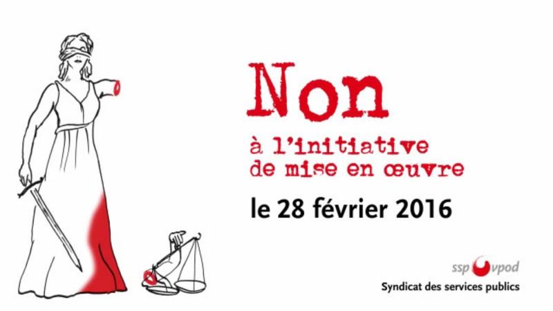 Affiche opposée à l'initiative de l'UDC 'Pour le renvoi effectif des étrangers criminels' (Photo:  ssp-vpod)