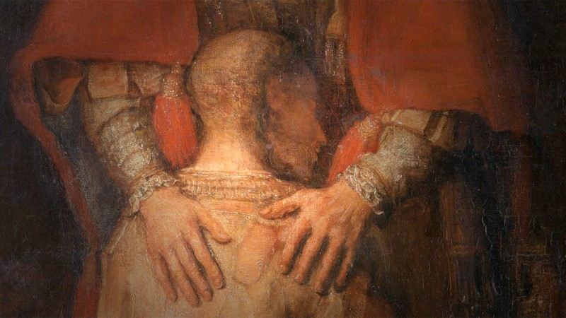 Rembrandt, Le retour du fils prodigue, 1668, (détail).