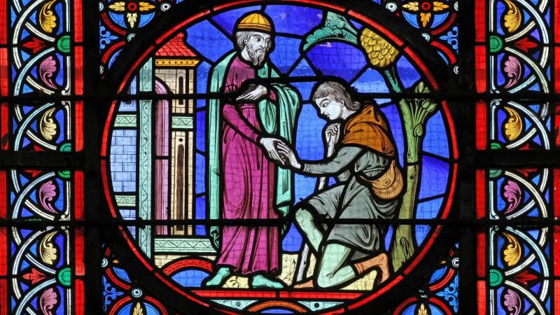 Le retour du fils prodigue. Détail d'un vitrail de la basilique du Sacré-Coeur de Paray-le-Monial (france). | © Flickr/Lawrence OP/CC BY-NC-ND 2.0)