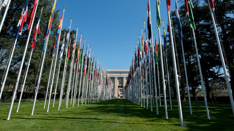 Allée des drapeaux of the United Nations in Geneva. 9 April 2015. (Photo: Jean-Marc Ferré/ONU).