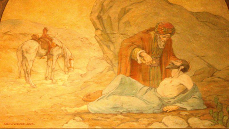 Le bon samaritain a su aimer son prochain (fresque à la cathédrale St-Joseph de Marseille)