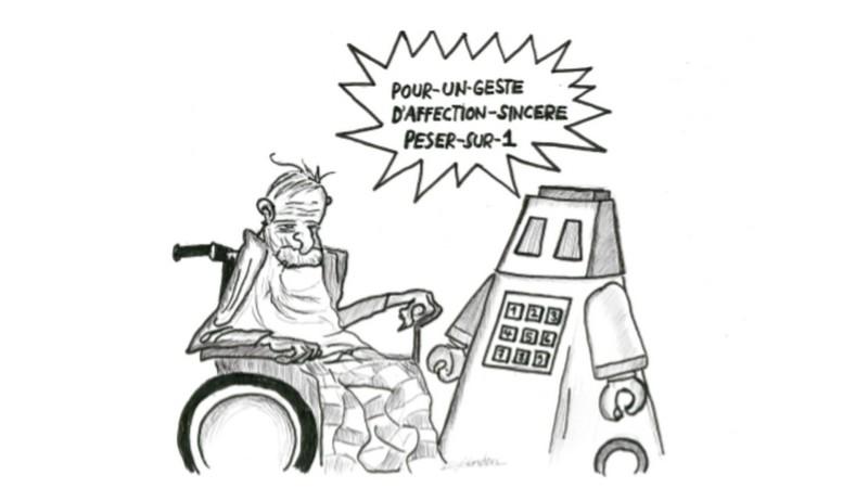 Des robots en maisons de retraite (dessin:Raphaël Zbinden)