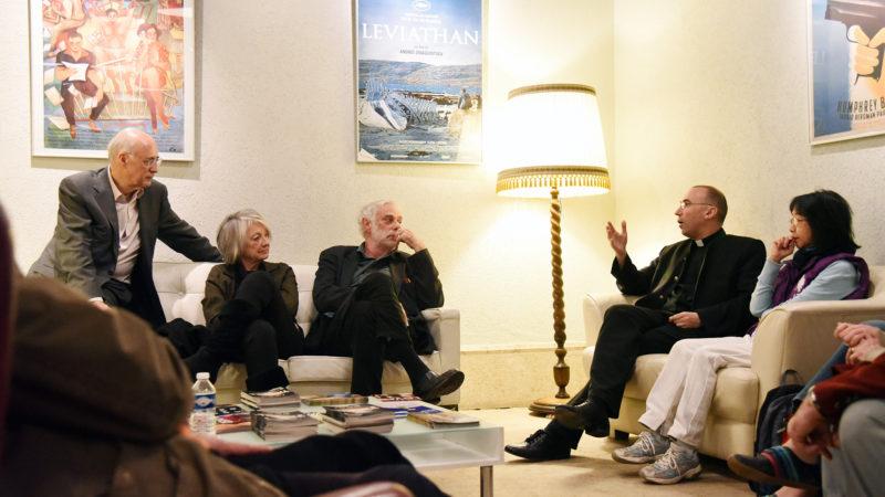 L'acteur Jean-Luc Bideau et le directeur du séminaire de LGF, Nicolas Glasson, 30.04.16 (Photo: Pierre Pistoletti)