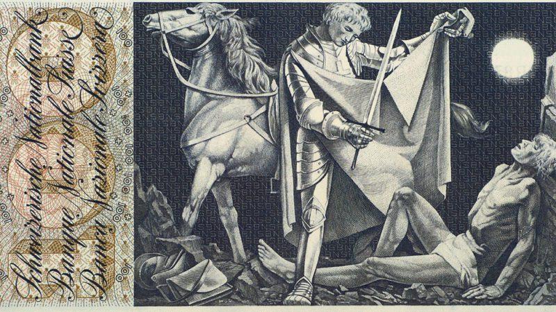 La figure de saint Martin de Tours apparaissait sur les anciens billets de 100 francs suisses