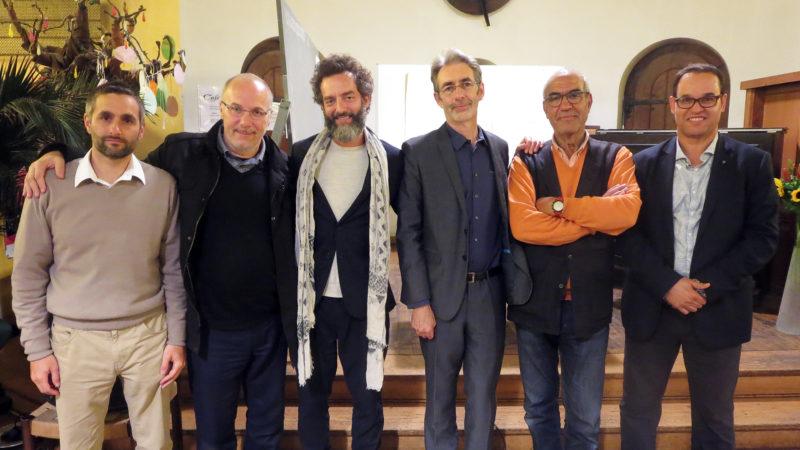 Les animateurs et organisateurs du séminaire sur le soufisme à Genève. De gauche à droite : Idris de Vos, Slimane Rizki, Shady Ammane, Eric Geoffroy, Hafid Ouardiri, Ahmed Chbab (Photo: Priscilia Chacón)