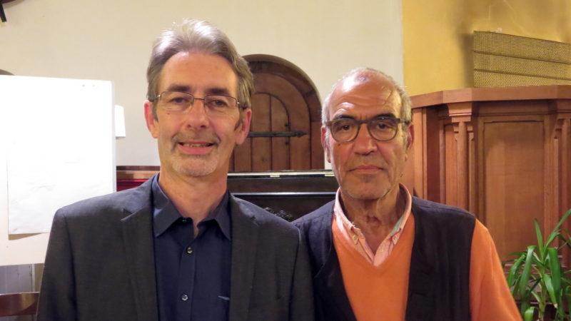 Le chercheur et enseignant Eric Geoffroy et Hafid Ouardiri (Photo: Priscilia Chacón)