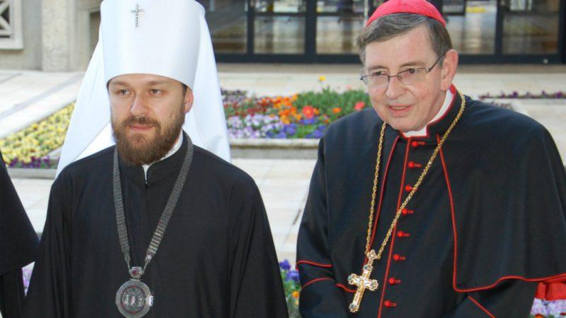 L'archevêque Hilarion Alfeyev avec le cardinal Kurt Koch à l'Université de Fribourg (Photo:  Jacques Berset)