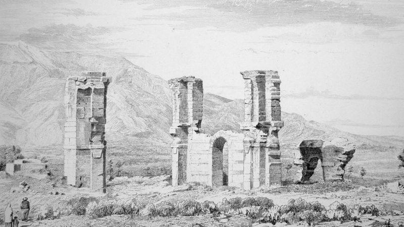 Les ruines de la cité antique de Philippes, au nord de la Grèce (dessin de  H. Daumet 1861)
