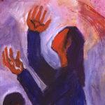 Elle veut simplement qu'on la rétablisse dans ses droits après avoir été sans doute spoliée de son héritage par la famille de son défunt mari. (Illustration: Bernadette Lopez/Evangile et peinture. Détail. Luc 18, 1-8.)
