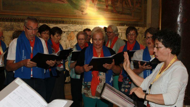 La chorale de Lourdes de Suisse romande a animé les célébrations du pèlerinage diocésain. Ici au baptistère de Saint-Jean-de-Latran, le 25 octobre 2016. (Photo: Bernard Litzler)