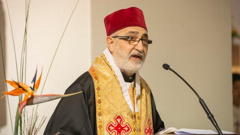 Mgr Nicolas Antiba, archimandrite de Bosra et Hauran, en Syrie, a remercié les paroissiens de Villars-sur-Glâne (Photo:Christoph von Siebenthal)
