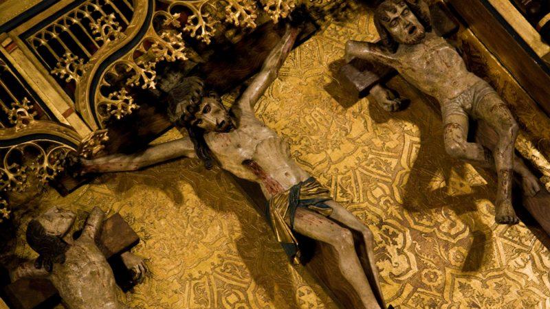Dans cette scène, propre à l'évangile selon S. Luc, l'un des deux crucifiés se désolidarise des sarcasmes de son compagnon d'infortune, reconnaissant leur culpabilité à tous deux et l'innocence de Jésus. (Photo: Flickr/Lawrence OP/CC BY-NC-ND 2.0)