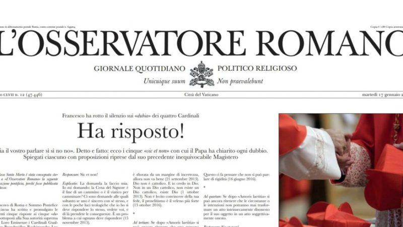 """Le faux Osservatore Romano titre """"Il a répondu!"""" (capture d'écran)"""