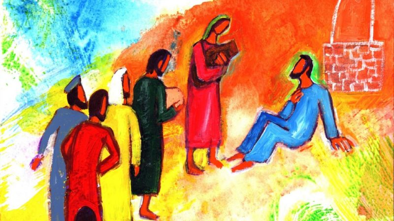 """""""À ce moment-là, ses disciples arrivèrent ; ils étaient surpris de le voir parler avec une femme"""". Jn 4, 26  (Illustration: Bernadette Lopez/Evangile et peinture)"""