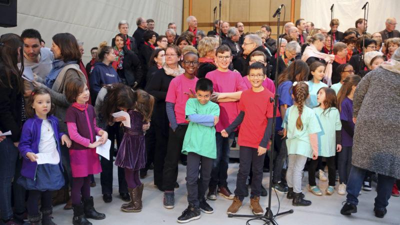 Sion le 12 mars 2017. 150 choristes ont animé la messe des familles. (Photo: B. Hallet)
