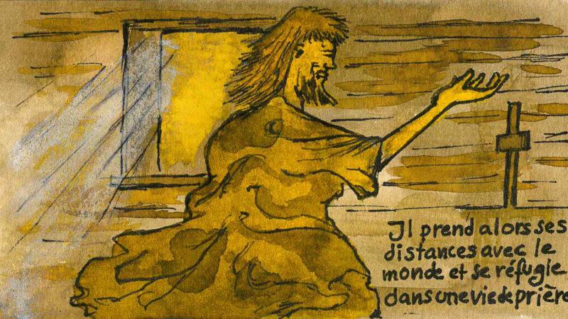 Nicolas de Flüe se fait ermite (dessin Rapahël Zbinden)