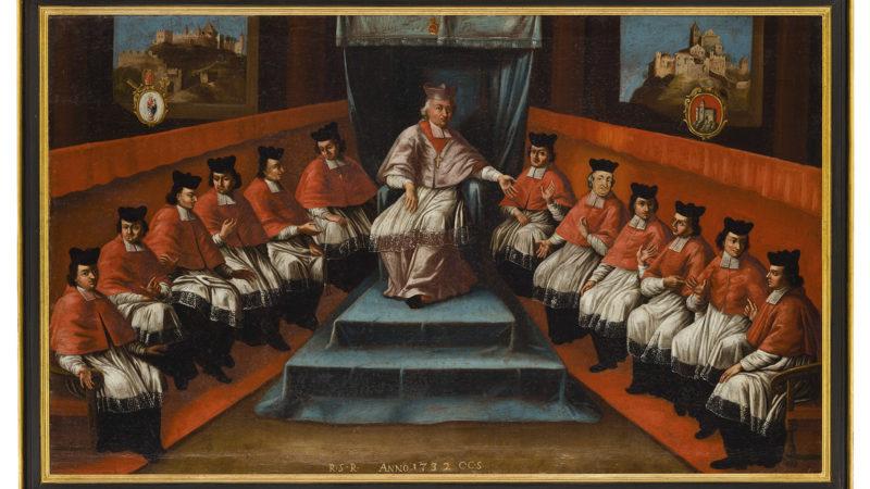 Tableau représentant l'évêque François-Joseph Supersaxo entouré des chanoines du Chapitre cathédral, 1732, huile sur toile, anonyme. (Photo: Musées cantonaux, Sion/M. Martinez)