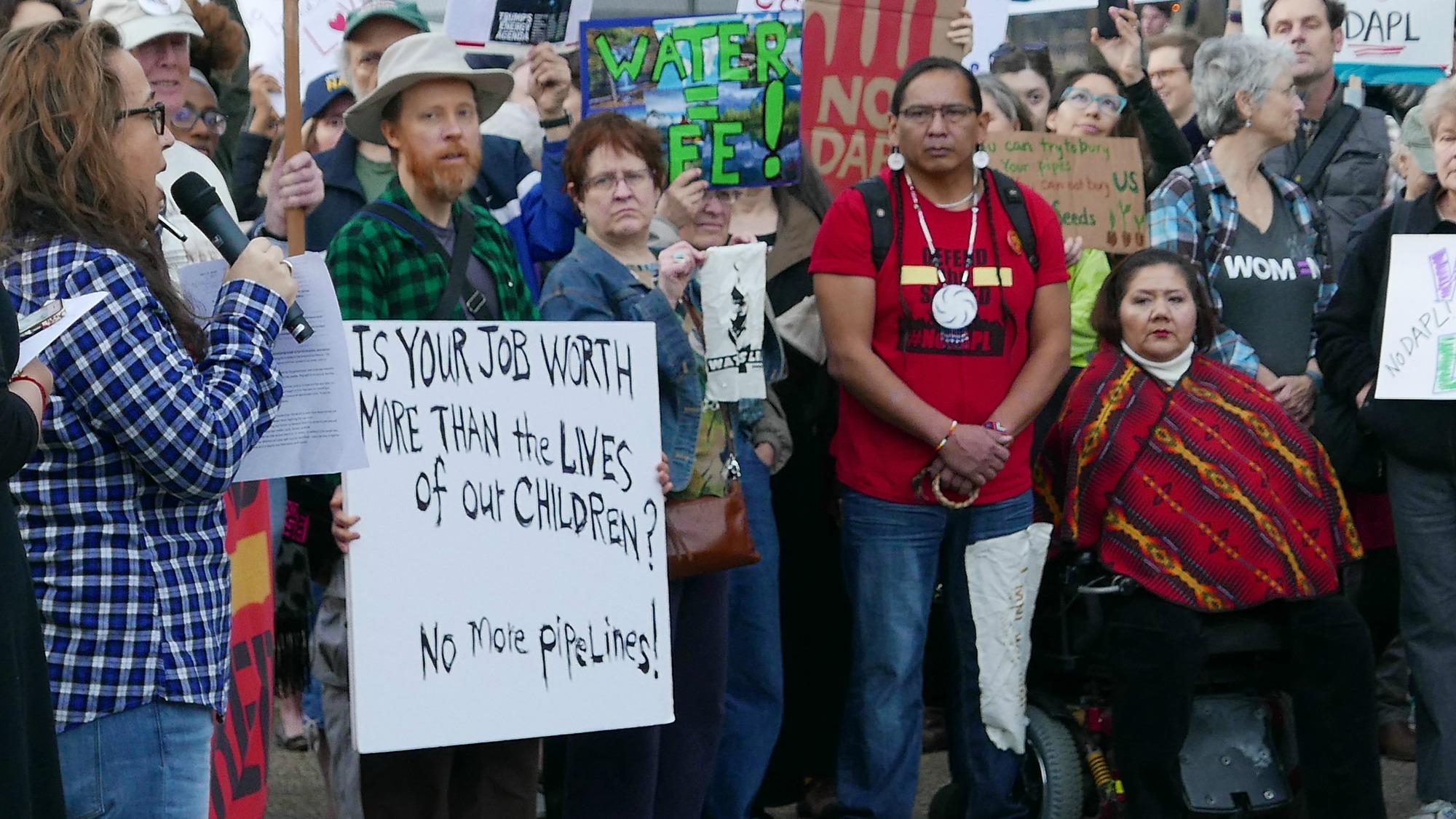 Les manifestants demandent l'arrêt de la construction de l'oléoduc (Photo: