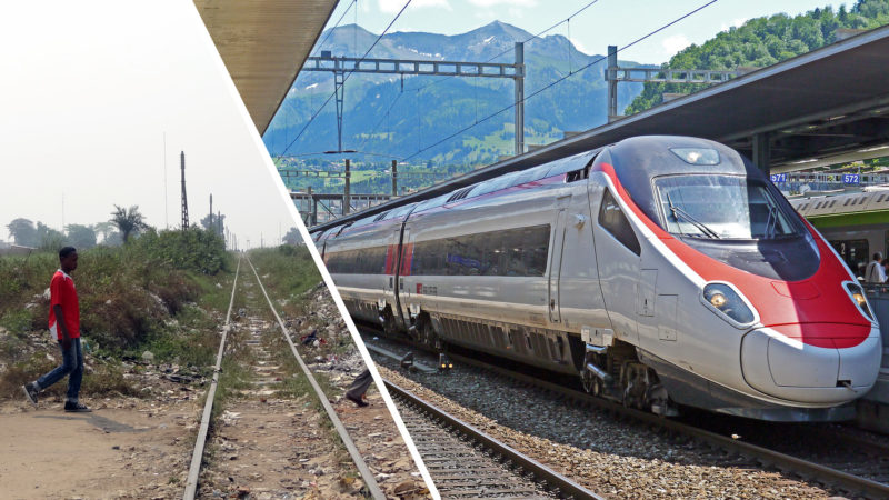 Entre la Suisse et le Congo, la ponctualité des trains varie (Photos: Guy Luisier / PIxabay)