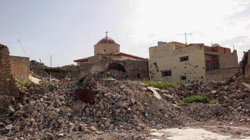 Les ruines du village de Batnaya, au nord de l'Irak. L'église de Mar Qeryaqos est restée debout |© Maurice Page