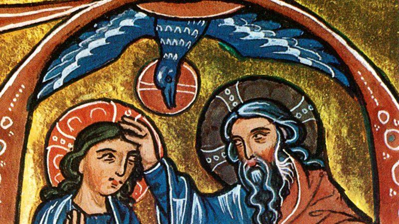 La Trinité, détail. Bible de l'Abbaye d'Heisterbach, Allemagne. (Photo: bibliothèque de Berlin)