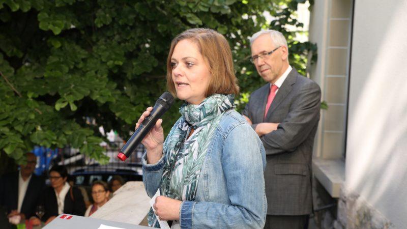 Line Dépraz, membre du Conseil de l'EERV, lors de l'inauguration du Centre catholique des médias (photo Bernard Hallet)