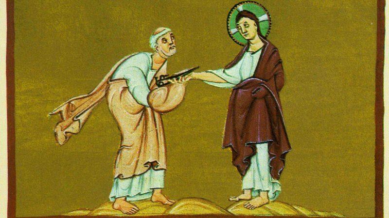 """""""Je te donnerai les clés du royaume des Cieux"""". Mt 16, 19. (Illustration: Le pouvoir des clés confié à saint Pierre - Munich, Staatsbibliothek)"""