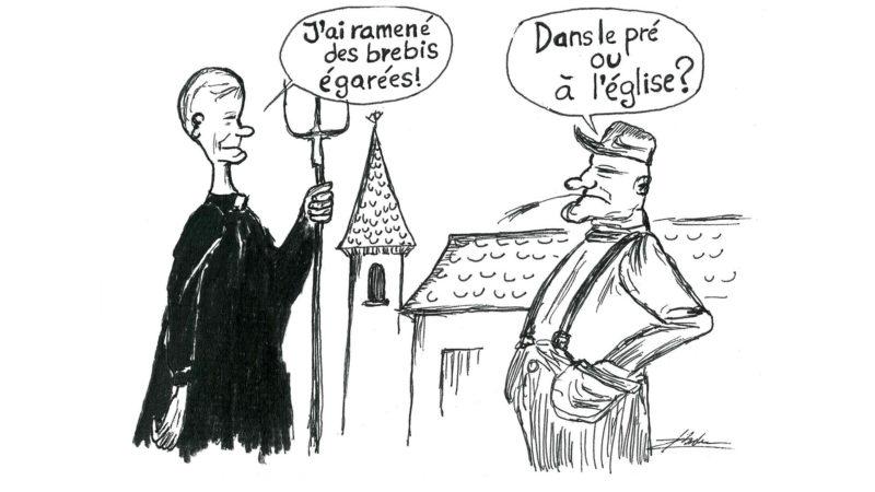 Les prêtres seront-ils un jour également ouvriers agricoles? (Dessin:Raphaël Zbinden)