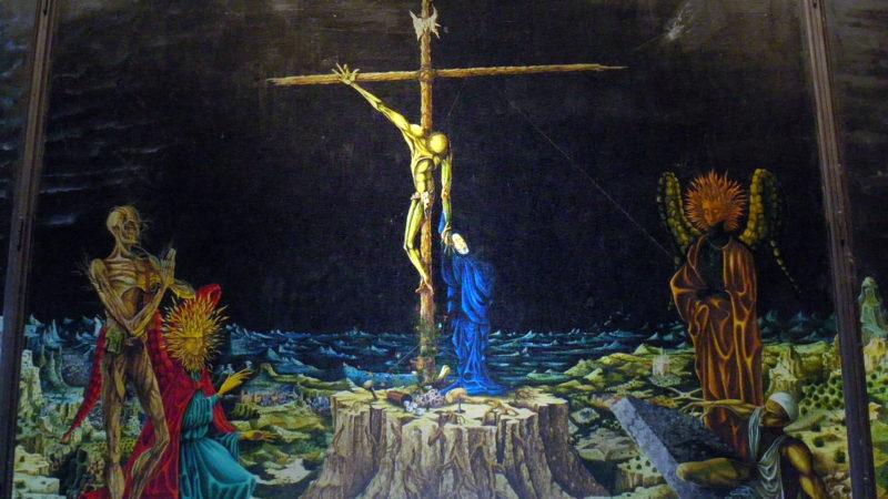 Le Christ en Croix et Notre-Dame des Douleurs. Le centre du triptyque de Baden-Baden par Jean-Pierre Ponnelle. (Photo: Wikimedia Commons/Martinetandre/CC BY-SA 3.0)