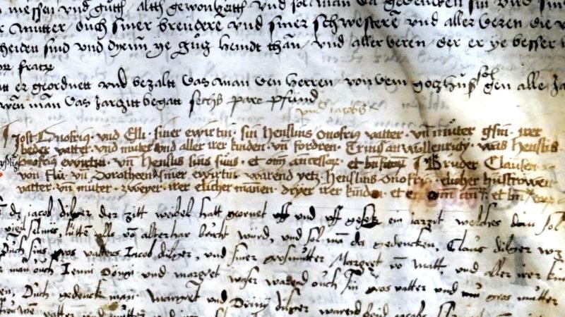 Le passage à l'encre brune du 'Jahrzeitenbuch' de 1494-1495  d'Engelberg fait mention de Frère Nicolas de Flüe et de son épouse Dorothée (photo Georges Scherrer)