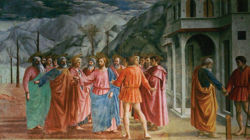 On a souvent compris: le temporel à l'état, le spirituel à Dieu, or le message est plus complexe et plus riche. (Masaccio: Le paiement du tribut).   Wikimédia commons