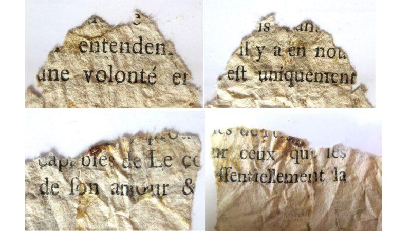 Les quatre fragments du livre que l'Abbaye de St-Maurice cherchent à identifier (Abbaye de St-Maurice)