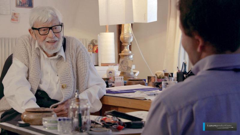 Jean-Marie Pirot-Arcabas  en dialogue avec le chanoine José Mittaz | © Gaëlle May, Lueurs productions