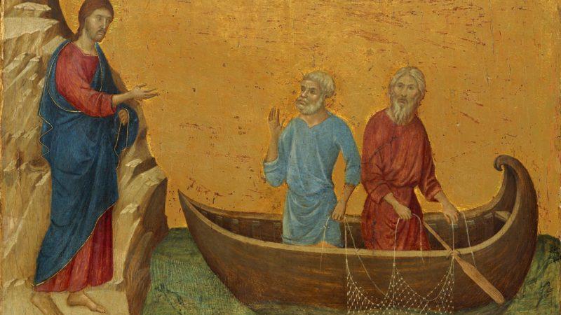 « Venez à ma suite. Je vous ferai devenir pêcheurs d'hommes. » Marc 1, 17. | Peinture de Duccio. 13e-14e siècle