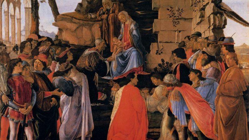 L'adoration  des mages venus de l'Orient lointain. Sandro Botticelli, vers 1475 | Wikimedia.