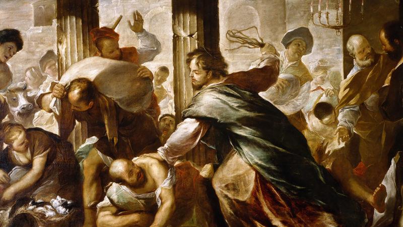 Le Christ chasse les marchands du temple.  Luca Giordano, huile sur toile. 2e moitié du 17e siècle| Domaine public.