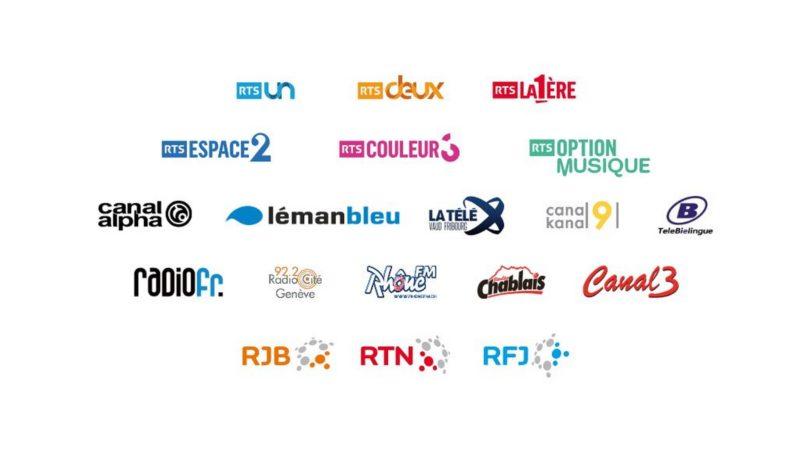 Les chaînes de radio et de télévision bénéficiaires de la redevance en Suisse romande