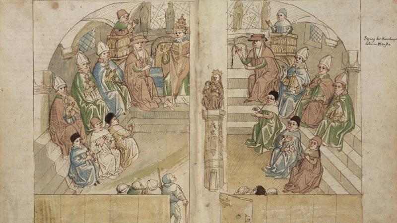Les délégués du Concile de Constance débattent dans la cathédrale | www.konstanzer-konzil.de