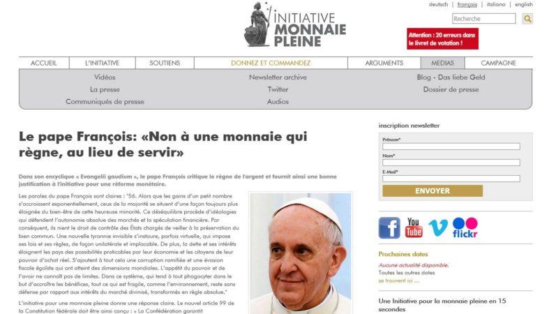Le pape François soutiendrait l'initiative 'Monnaie pleine' ?