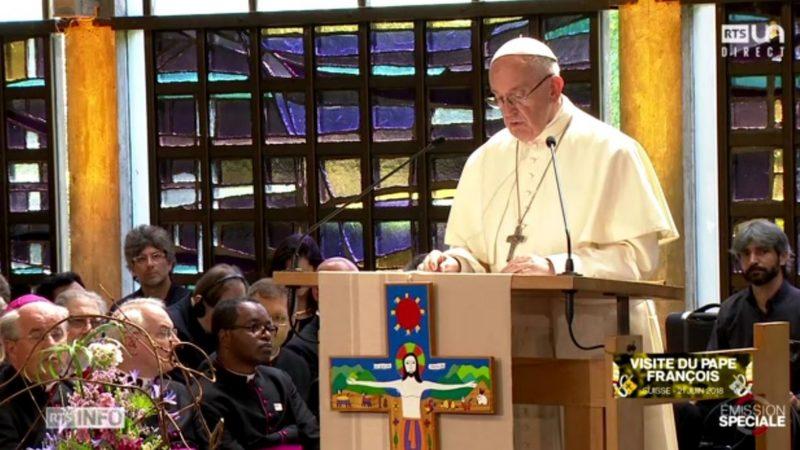 Le pape François plaide pour l'unité des chrétiens au Conseil oecuménique des Eglises à Genève | capture d'écran RTS
