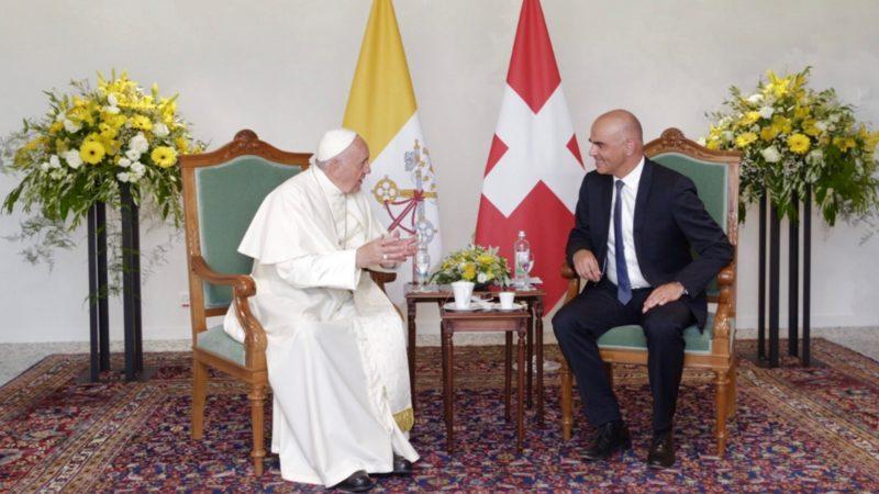 Le pape François s'est entretenu durant une demi-heure avec le président de la Confédération suisse Alain Berset | © Confédération suisse