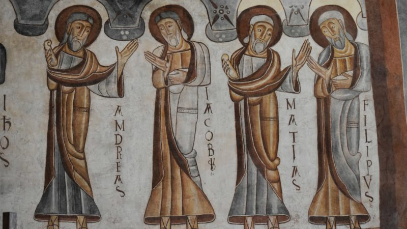 Montcherand Fresques romanes du XIIe siècle dans l'ancien Prieuré Saint-Etienne, badigeonnées à la chaux à la Réforme et redécouvertes en 1902 |  © Jacques Berset
