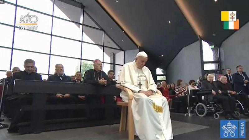 Le pape François se recueille au sanctuaire marial de Knock, en Irlande | capture d'écran Vatican Media