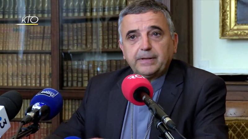 Mgr Lebrun s'est exprimé sur la mort d'un ejeune prêtre lors d'une conférence de presse | © Capture-écran - KTO
