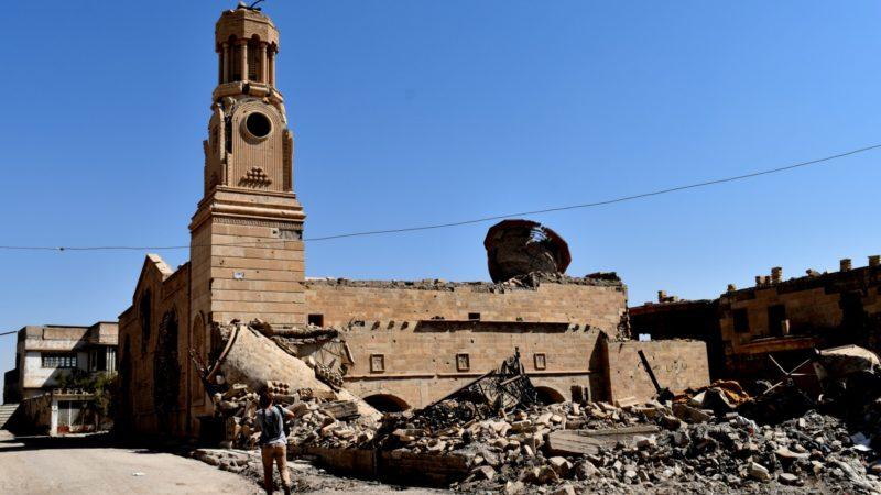 L'église chaldéenne d'al-Tahira, à Mossoul, a été dépouillée de la statue de la Vierge au sommet de son clocher | © Jacques Berset