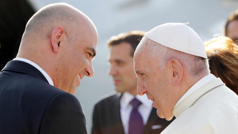 Alain Berset avec le pape François à Genève, le 21 juin 2018 |© Keystone