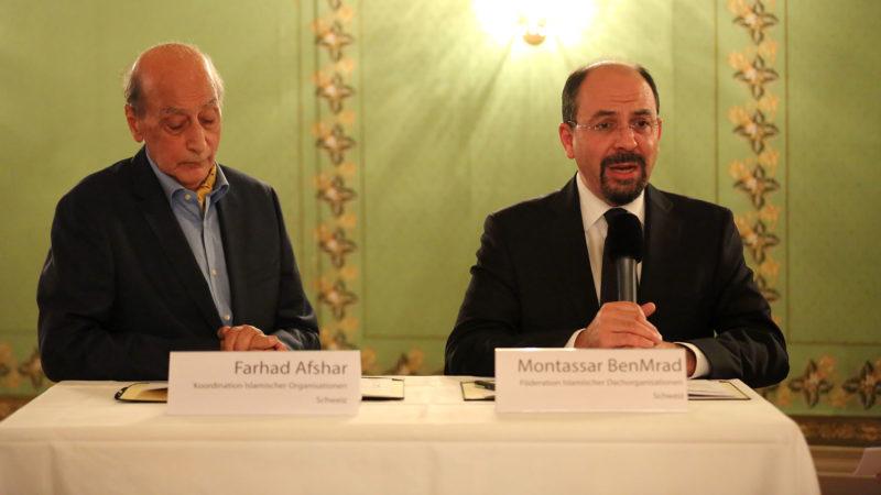 Farhad Afshar, de la Coordination des organisations islamiques de Suisse et Montassar BenMrad, de la Fédération d'organisations islamiques de Suisse. | © B. Hallet